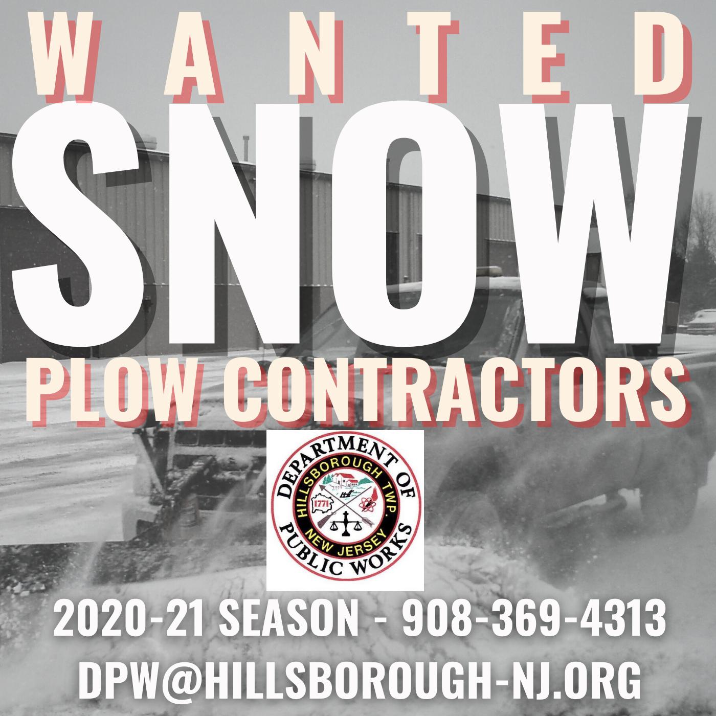 Hillsborough New Jersey - Snowplow Contractors Wanted